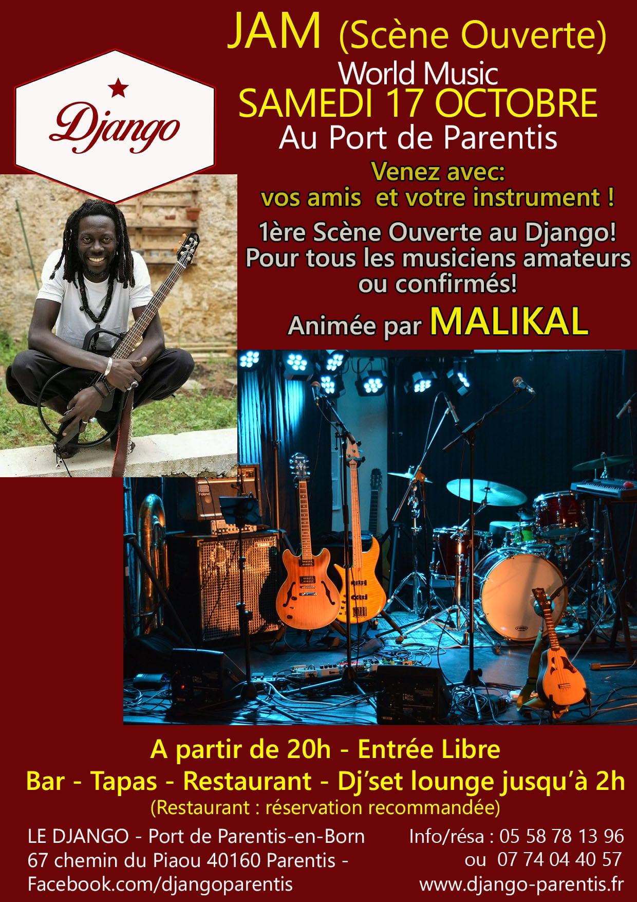 1ere JAM SESSION (Scène Ouverte) World Music Animée par Malikal